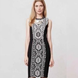 Anthro Porridge Black and White Aztec Sheath Dress